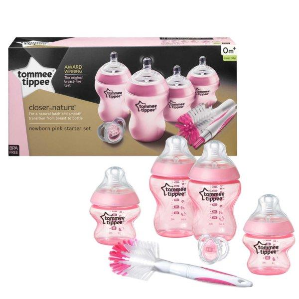 Tommee Tippee Комплект за новородено антиколик + Четка за шишета розова 42356641
